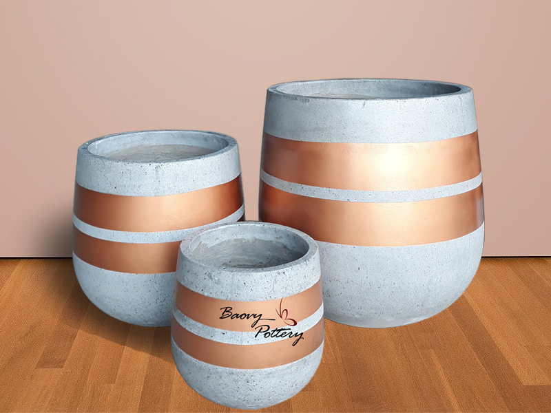 Painted Concrete Pots - Two Gold Line