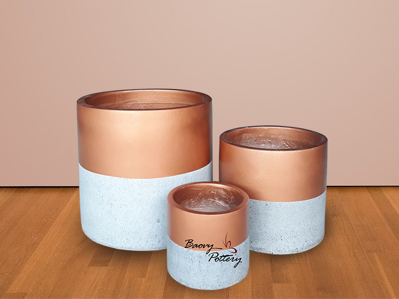 Painted Concrete Pots- Simple Gold