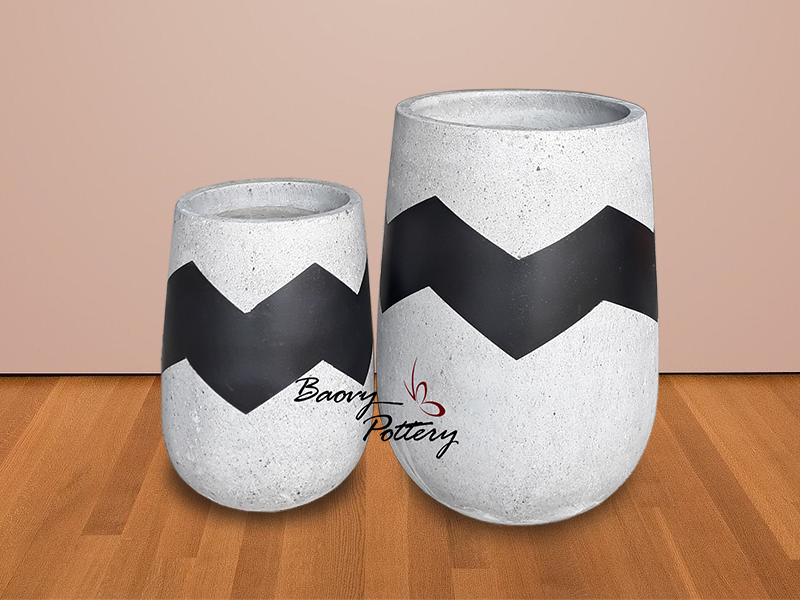 Painted Concrete Tall Pots - Black Zigzag