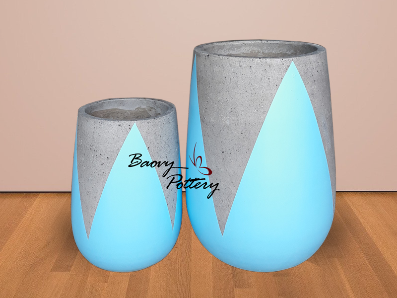 Painted Concrete Tall Pots - Blue Tulip