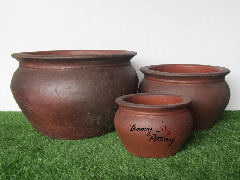 Large Bowl W Rim Dark Clay Planter