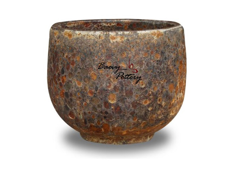 Rust Bubble Glazed Bowl Planter
