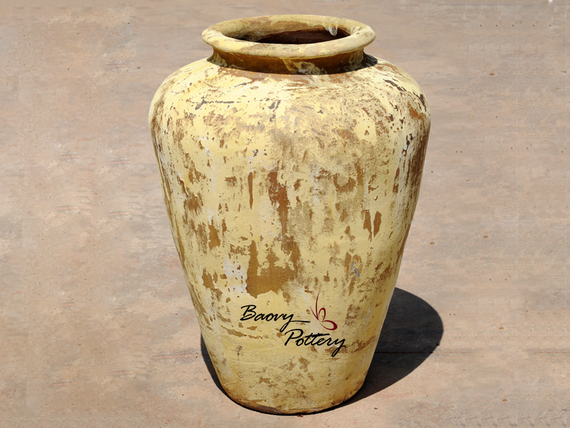 Yellow Rustic Large Jar Planter
