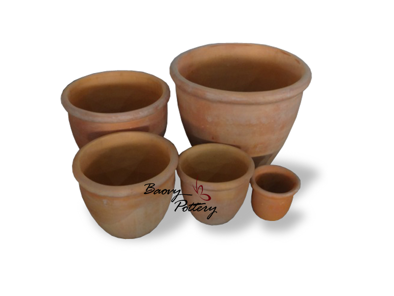 Round Bowl With Rim Terracotta Pots