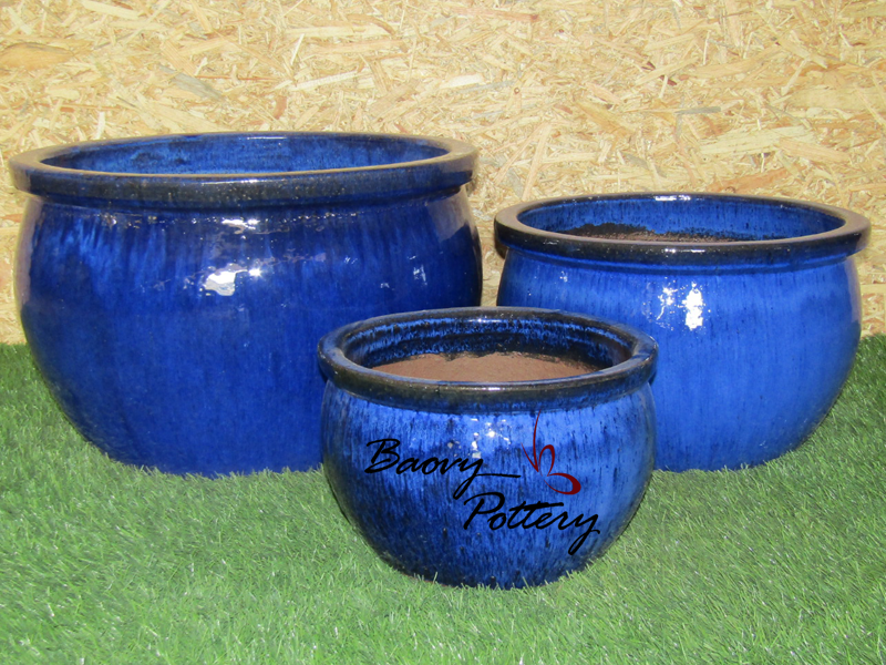 Glazed Blue Ceramic Bowl Pots