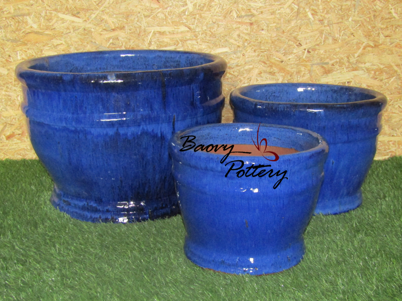 Glazed Blue Ceramic Bowl Planters