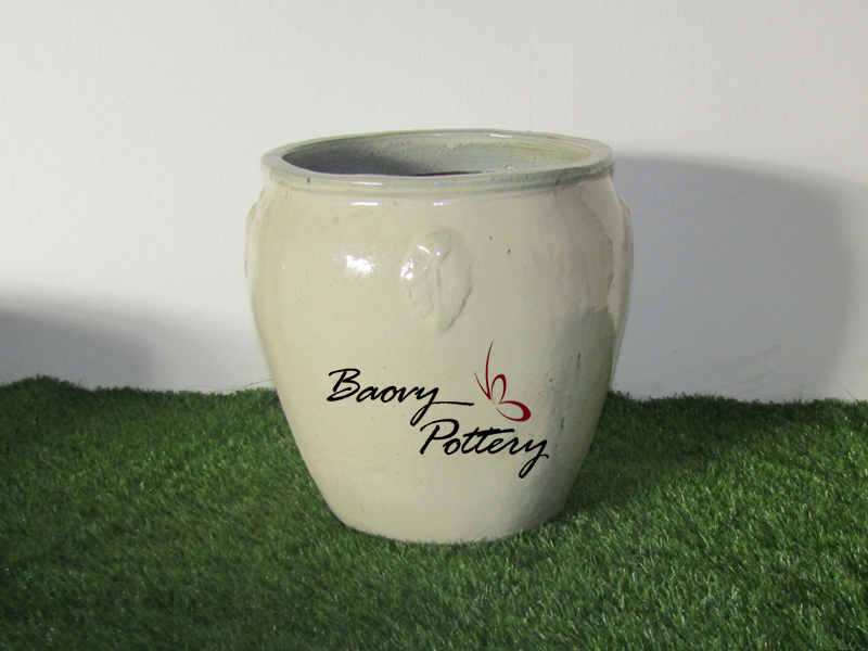 Glazed Cream Ceramic Planters