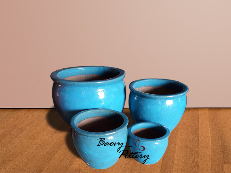 Light Blue Ceramic Bowl Planter