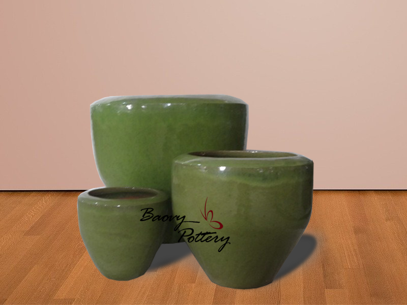 Forest Green Ceramic Bowl Planter