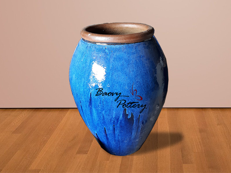 Large Blue Ceramic Jar Planter