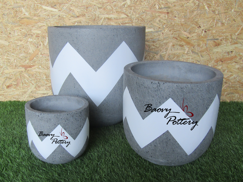 Painted Concrete Planters - Blue Ziczac