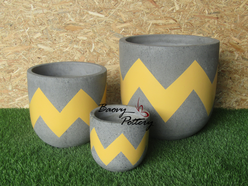 Painted Concrete Planters - Yellow Ziczac