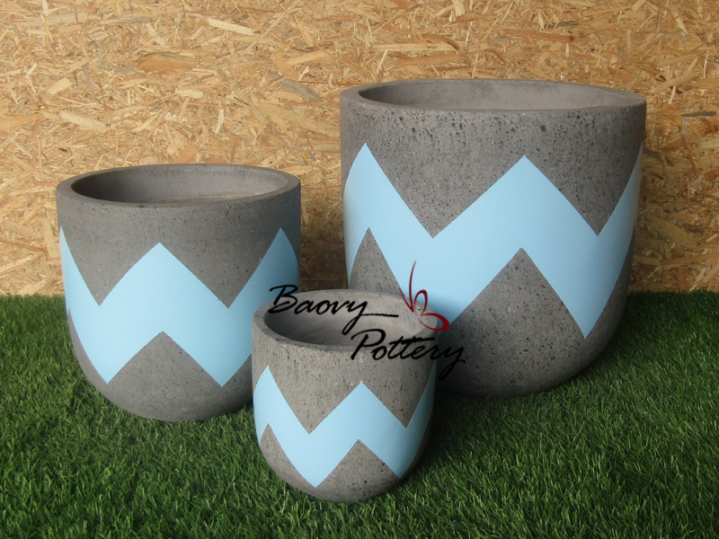 Painted Concrete Planters - White Ziczac
