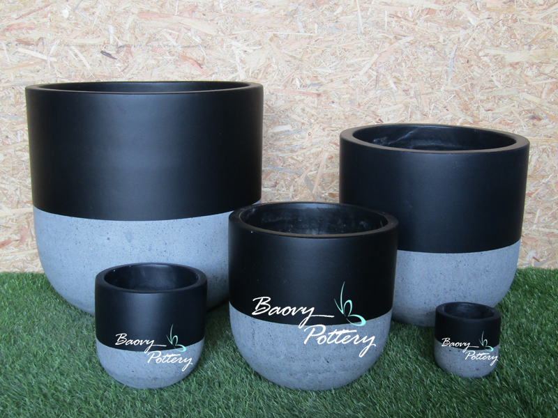 Painted Concrete Planters - Black Simple