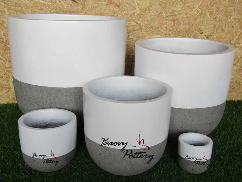 Painted Concrete Planters - White Simple