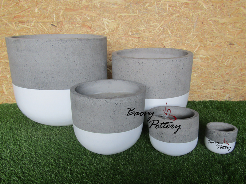 Painted Concrete Planters - Simple White