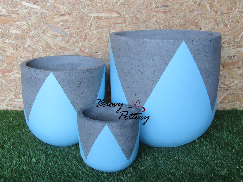 Painted Concrete Pots - Blue Tulip