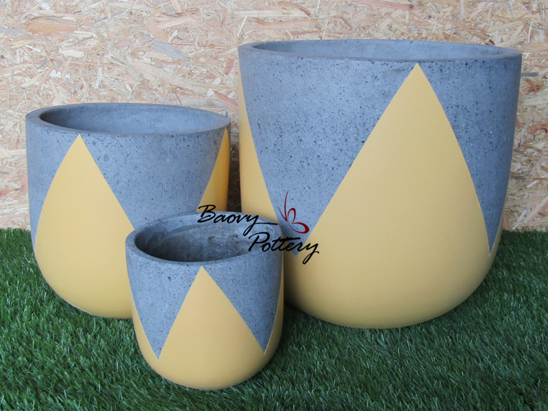 Painted Concrete Pots - Yellow Tulip