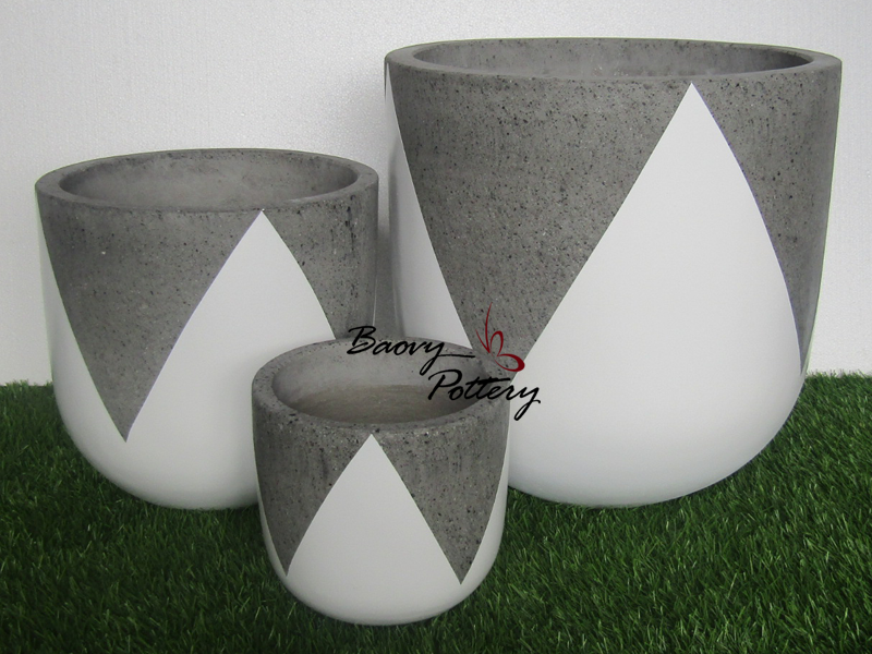 Painted Concrete Pots - White Tulip