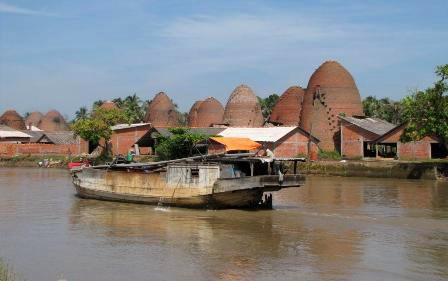 BRICK & CERAMIC VILLAGE ON THE BANKS OF MEKONG DELTA.