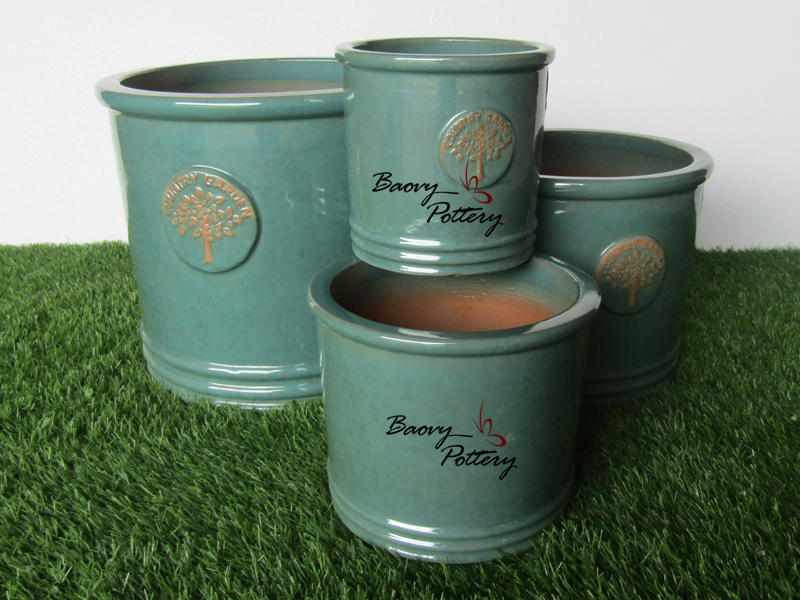 Turquoise Glazed Ceramic Tree Pattern Pots