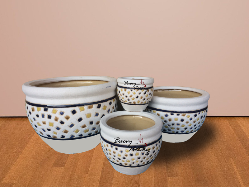 Glazed Ceramic Morden Pattern Pots