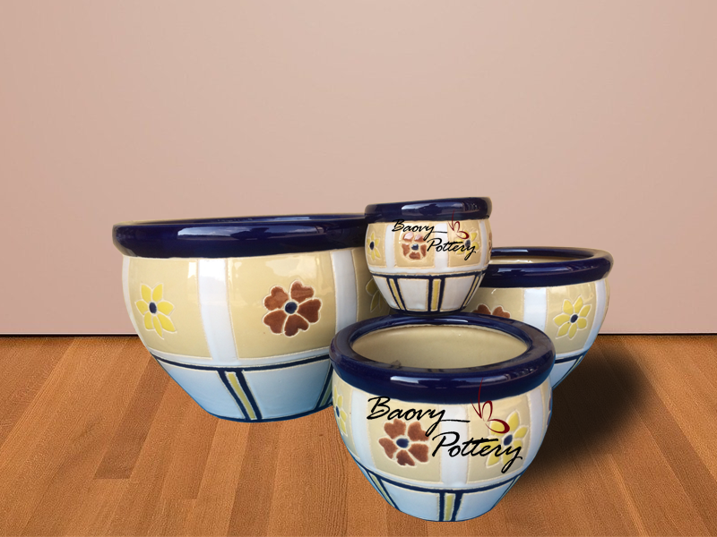 Glazed Ceramic Morden Flower Pattern Pots