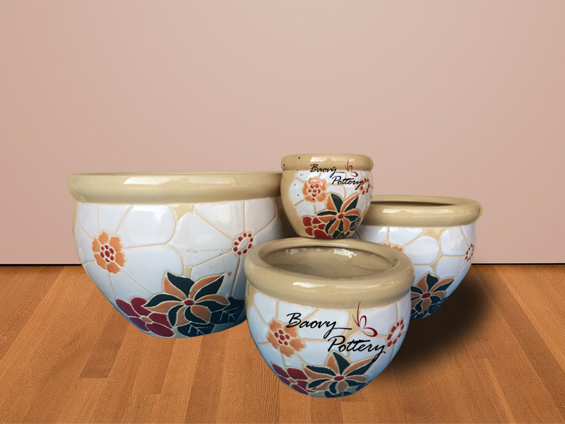 Glazed Ceramic New Flower Pattern Pots