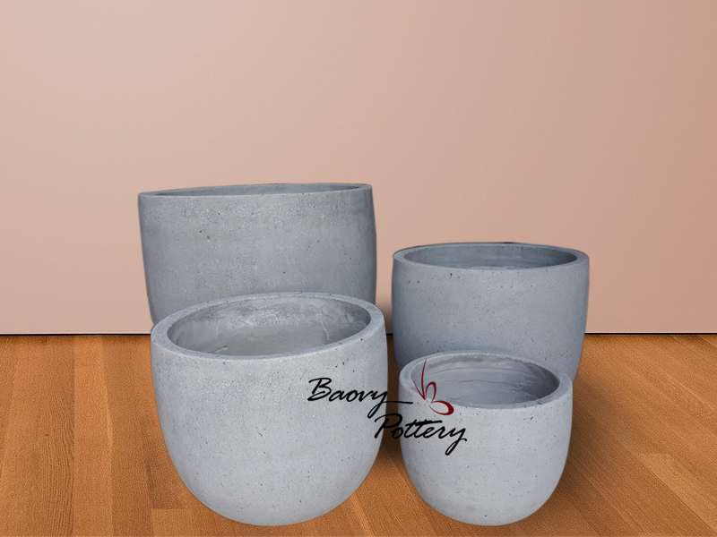 Light Concrete Round Pot Planters